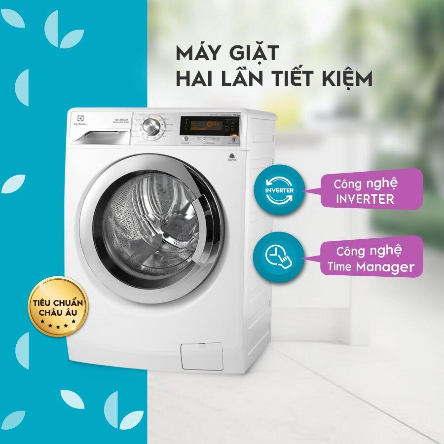 Máy giặt sấy Electrolux 11KG Inverter lồng ngang EWW1141AEWA