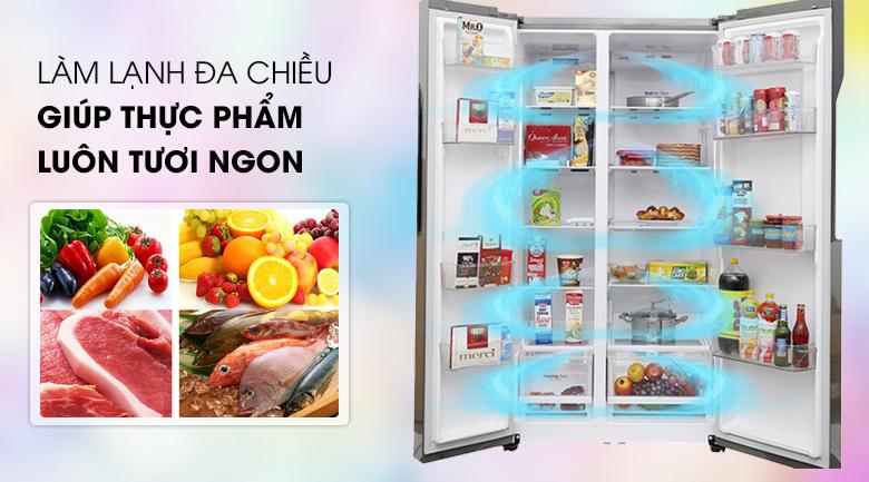 Tủ lạnh GR-B247JDS Side By Side Inverter 613 lít, lạnh đa chiều
