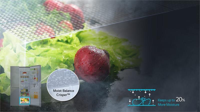 Tủ lạnh LG GR-P247JS Inverter 601 lít, cân bằng độ ẩm