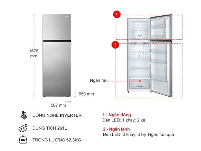 thinh-phat-Thông số kỹ thuật tủ lạnh Casper Inverter 261 lít RT-275VG