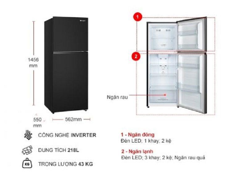 thinh-phat-Thông số kỹ thuật tủ lạnh Casper RT-230PB 218l