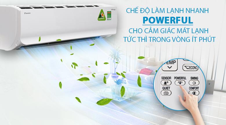 Công nghệ Daikin FTKZ25VVMV Powerful làm lạnh nhanh