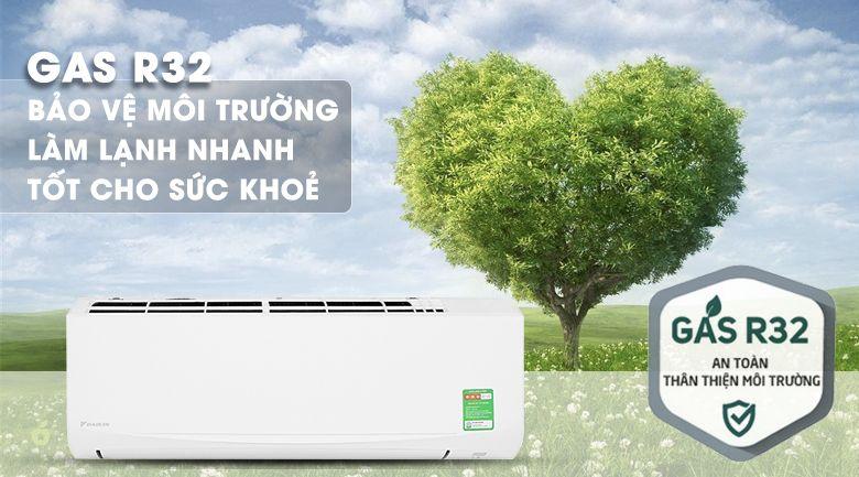 Daikin FTKZ35VVMV sử dụng Gas R32 thân thiện môi trường
