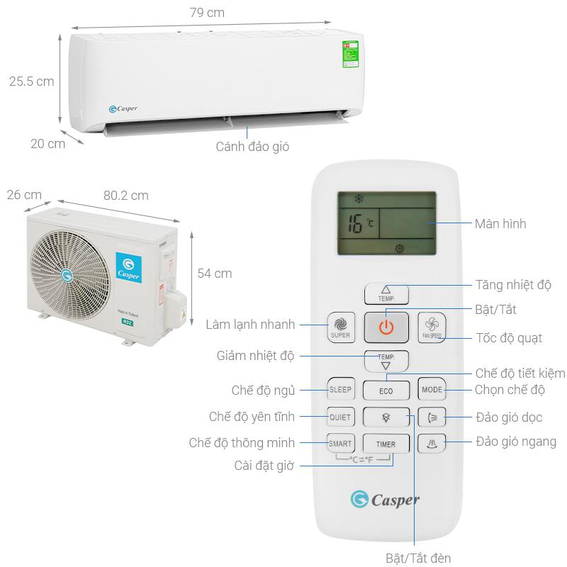 Kích thước dàn nóng điều hòa-dàn lạnh điều hòa 9000BTU-12000BTU