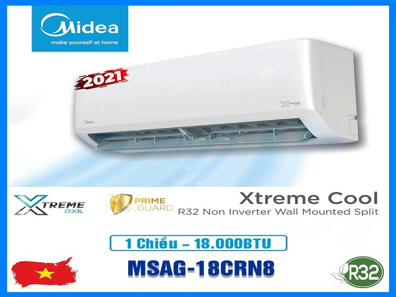 Điều hòa Midea 1 chiều MSAG-18CRN8, công suất 18000 BTU
