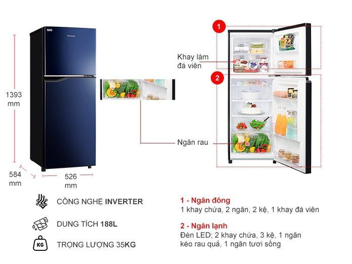 Tủ lạnh Panasonic NR-BA229PAVN inverter 188 Lít, thiết kế sang trọng
