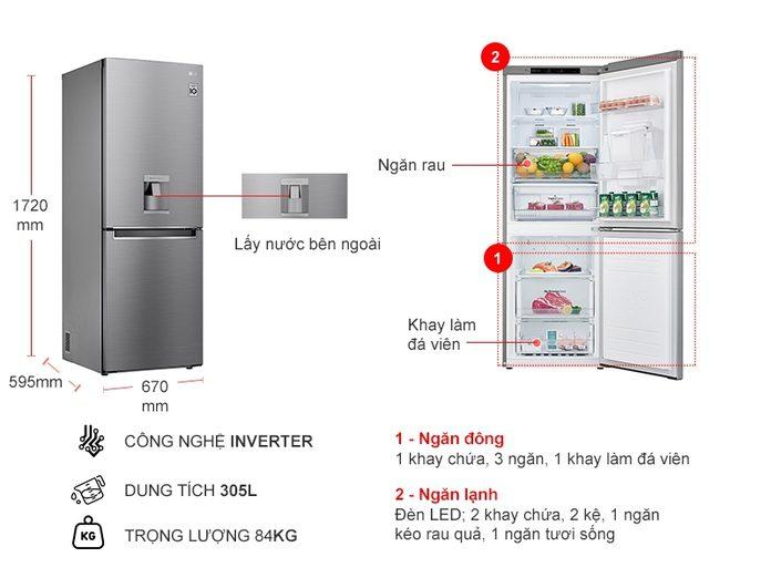 Tủ lạnh LG GR-D305PS Inverter 305 lít, thiết kế hiện đại