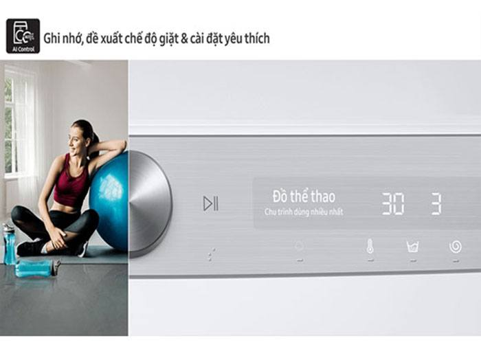 Máy giặt lồng ngang Samsung WW10TP54DSH/SV, bảng điều khiển thông minh
