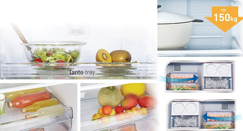 Tủ lạnh Panasonic Inverter NR-BL263PPVN234L, khay kệ chịu lực
