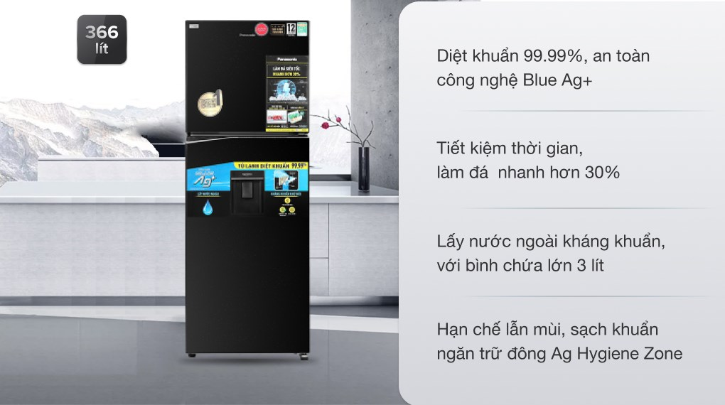 Tủ lạnh Panasonic NR-TL381GPKV Inverter 366L, hiện đại