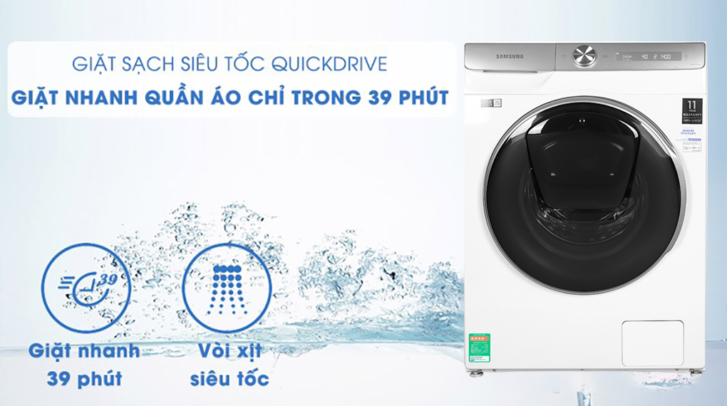 Máy giặt Samsung WW90TP54DSH/SV, giặt siêu nhanh 39 phút