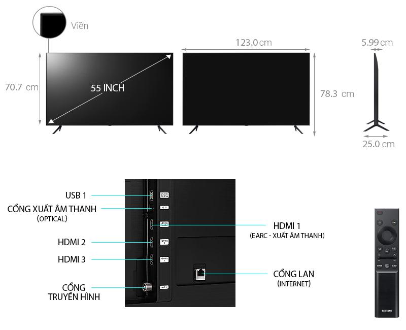 Tivi Samsung 4K 55 Inch 55AU8000