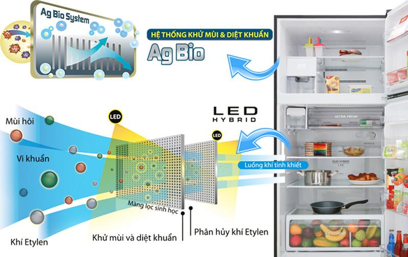 Tủ lạnh Toshiba GR-AG66VA-X 608 lít inverter, tiêu diệt vi khuẩn