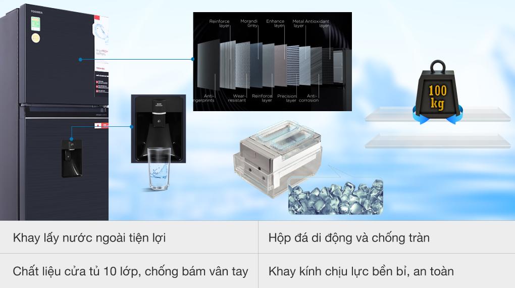 Tủ lạnh Toshiba GR-RT395WE-PMV(06)-MG inverter 311 lít, vòi lấy nước ngoài tiện lợi