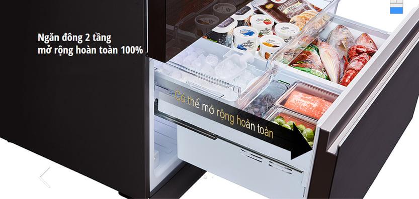 Tủ lạnh Panasonic NR-W621VF-T2 inverter 618L, ngăn đông mềm tiện dụng