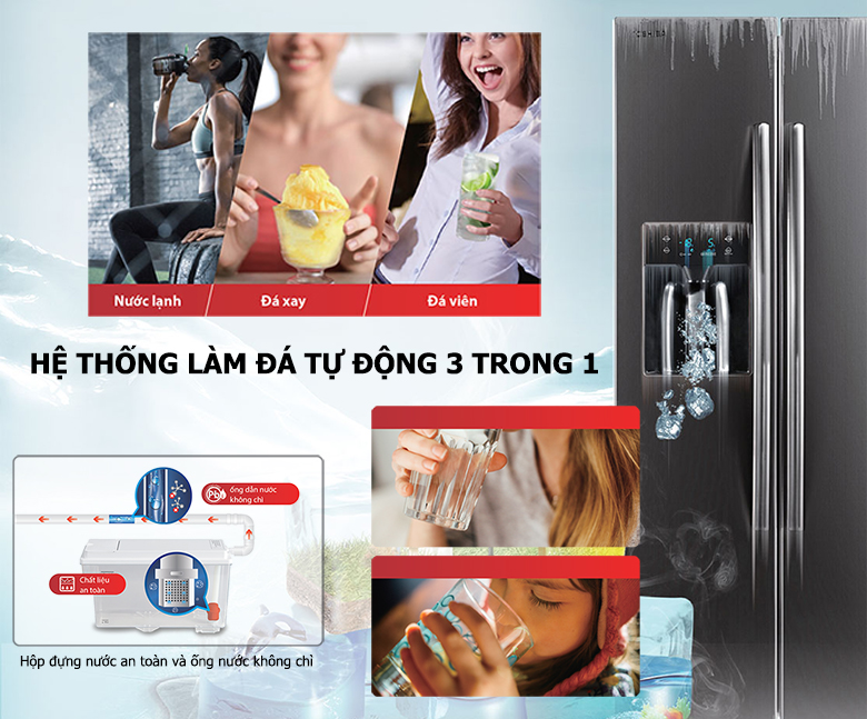 Tủ lạnh Toshiba RS637WE-PMV(06)-MG SBS Inverter 493L, làm đá tự động