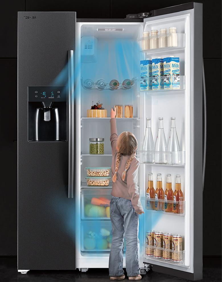 Tủ lạnh Toshiba RS637WE-PMV(06)-MG SBS Inverter 493L, làm lạnh đa chiều