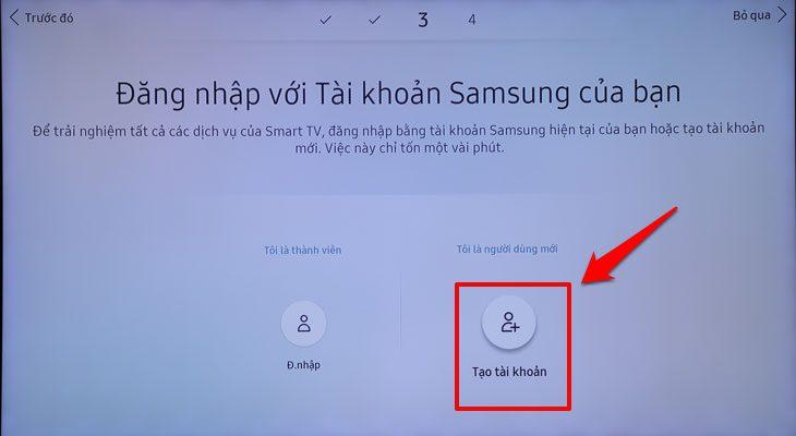 Đăng nhập tài khoản Tivi Samsung