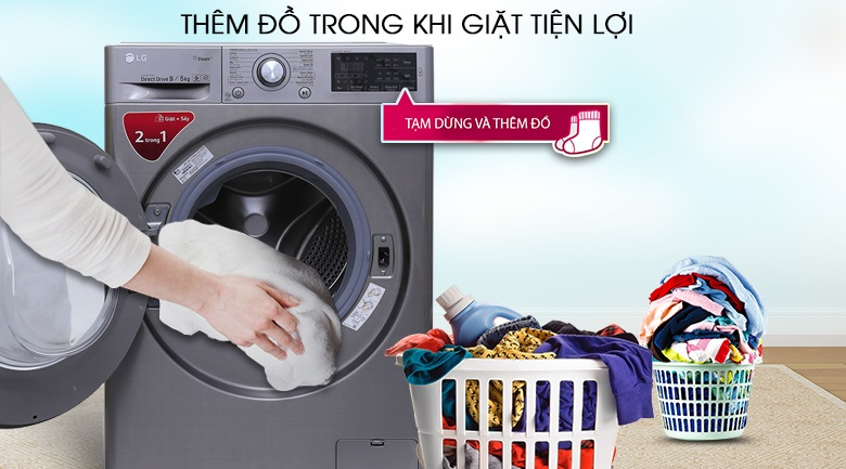 Máy giặt lg thêm đồ giặt