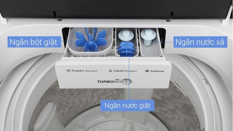 Vệ sinh ngăn chứa bột giặt và nước xả