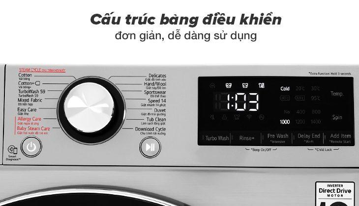 máy giặt lg FV-S2 cấu trúc bảng điều khiển