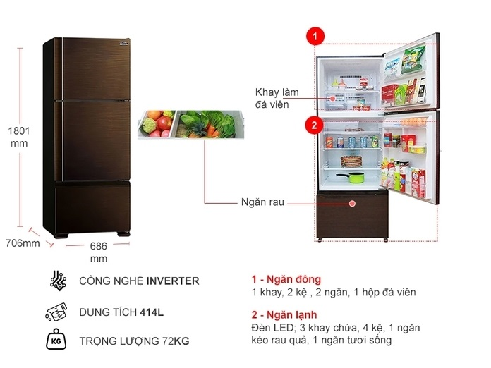thiết kế của tủ lạnh Mitsubishi Electric