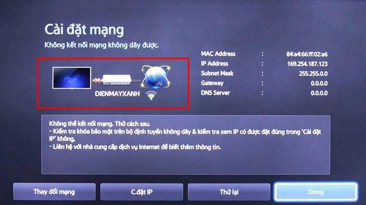 tivi Samsung không kết nối được Wi-Fi 9