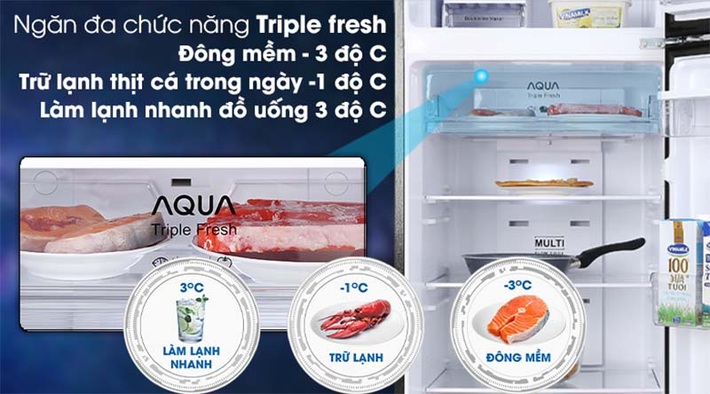 Tủ lạnh Aqua tính năng triple fresh