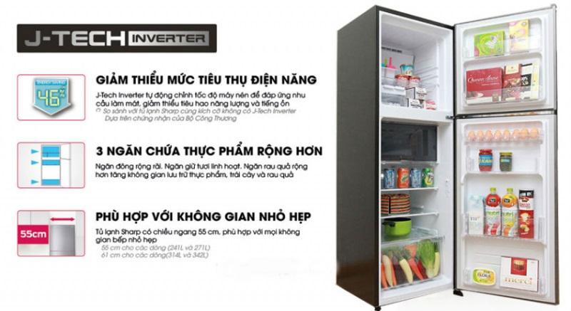 Tủ lạnh Sharp trang bị nhiều tính năng thông minh