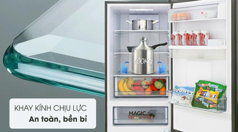 khay kính chịu nhiệt, Tủ lạnh Aqua Inverter 320 lít AQR-IW378EB SW