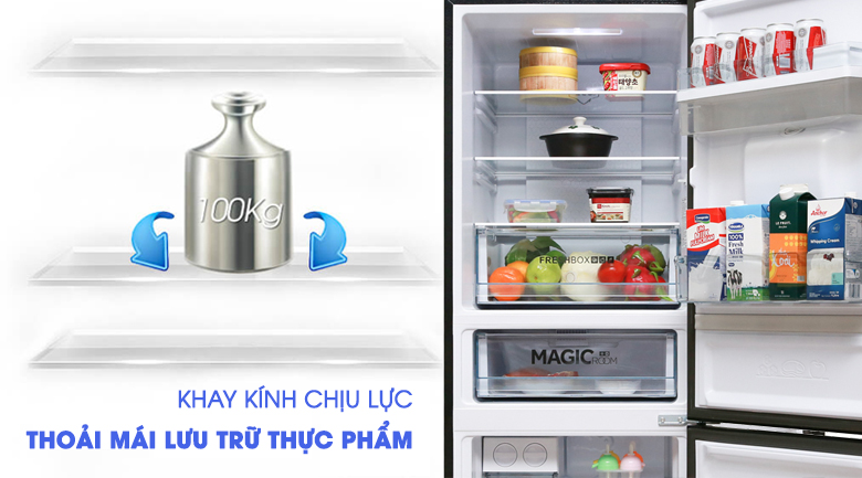 Tủ lạnh Aqua Inverter 288 lít AQR-IW338EB (BS), khay kính chịu lực