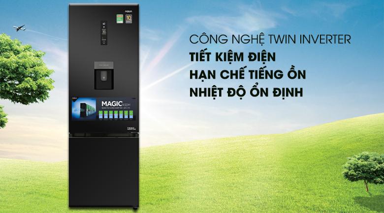 Tủ lạnh Aqua Inverter 320 lít AQR-IW378EB (BS), tiết kiệm điện
