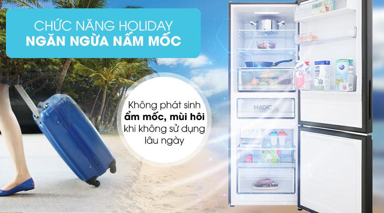 Tủ lạnh Aqua Inverter 288 lít AQR-IG338EB GB, holiday ngăn ngừa nấm mốc